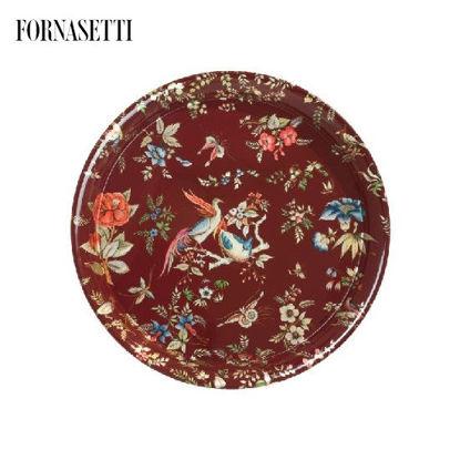 Picture of Fornasetti Tray ø60 Coromandel colour/silver/carmine red