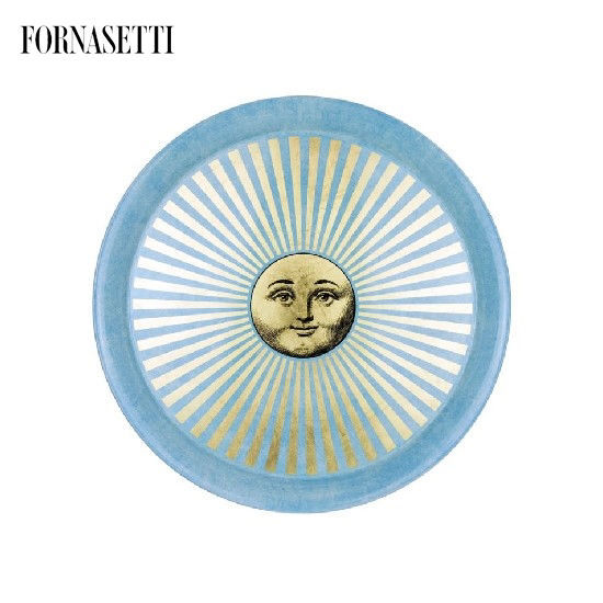 Picture of Fornasetti Tray ø60 Sole Sole Raggiante gold/sponged light blue