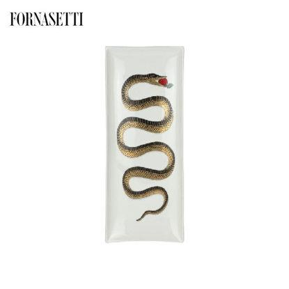 Picture of Fornasetti Tray rettangolare Serpente black/gold/colour on white