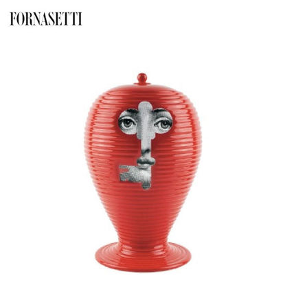 Picture of Fornasetti Vase Rigato serratura black/white on red
