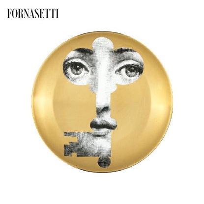 Picture of Fornasetti Wall plate Tema e Variazioni n°47 black/white/gold