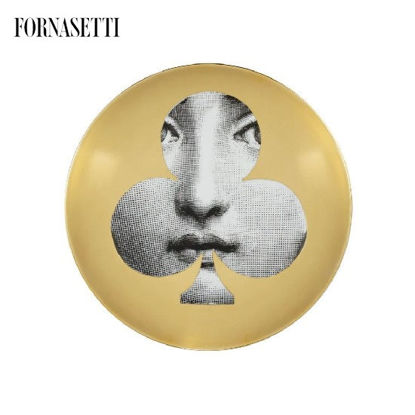 Picture of Fornasetti Wall plate Tema e Variazioni n°69 black/white/gold