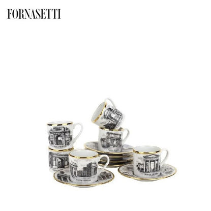 Picture of Fornasetti Set 6 coffee cups Porte di Milano black/white/gold