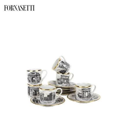 Picture of Fornasetti Set 6 coffee cups Porte di Milano black/white/gold