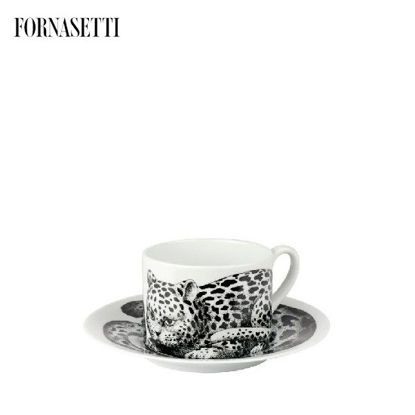 Picture of Fornasetti Tea cup High Fidelity Leopardato skin black/white