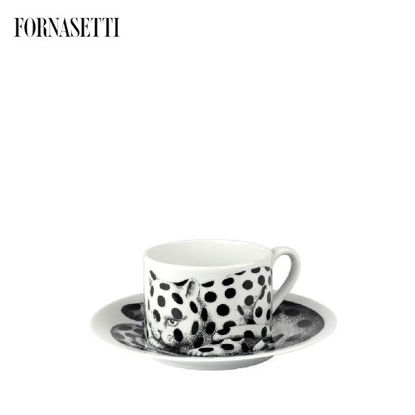 Picture of Fornasetti Tea cup High Fidelity Pois black/white
