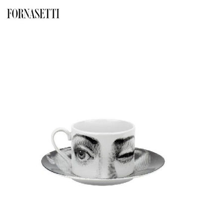 Picture of Fornasetti Tea cup Tema e Variazioni 2005 L'antipatico black/white