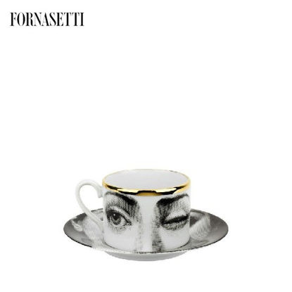 Picture of Fornasetti Tea cup Tema e Variazioni 2005 L'antipatico black/white/gold