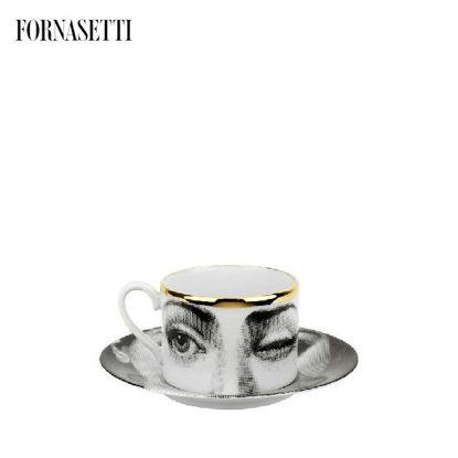 Picture of Fornasetti Tea cup Tema e Variazioni 2005 L'antipatico black/white/gold