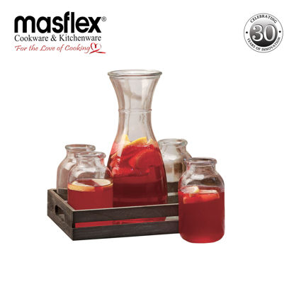 Picture of Masflex 5 Piece Water Bottle W/ Wooden Tray Set(GF-69008)