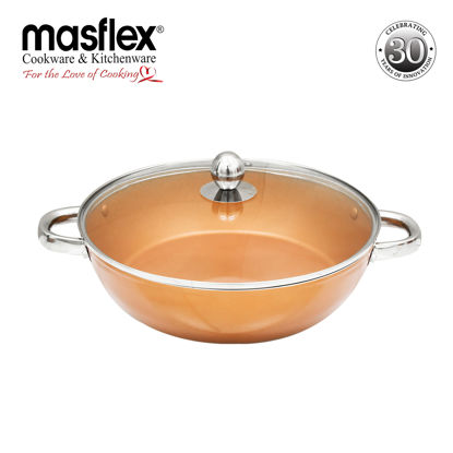 Picture of Masflex 28Cm Copper Induction Skillet With Glass Lid