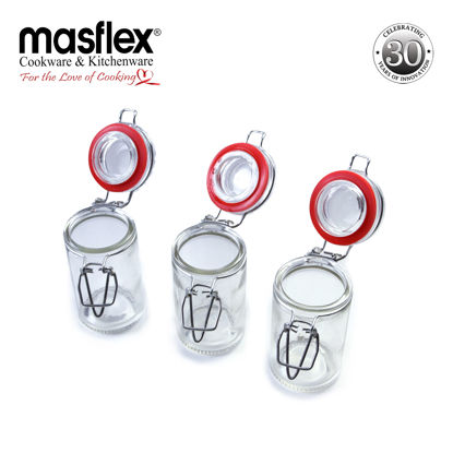 Picture of Masflex 3Piece Glass Spice Jars With Glass Lid