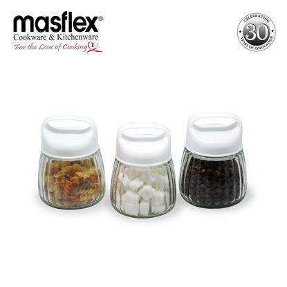 Picture of Masflex 3-Piece Glass Jars W/ Plastic Lid
