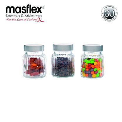 Picture of Masflex 3 Piece Glass Jars W/ Metal Lid (Qm-3103)