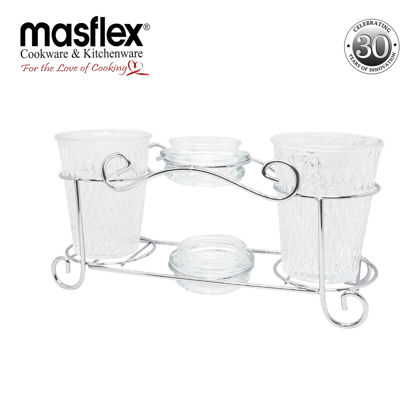 Picture of Masflex 4 Piece Snack Server With Metal Rack