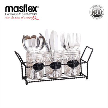Picture of Masflex 3 Piece Cutlery Holder Set With Metal Rack
