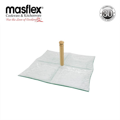Picture of Masflex Quadra Glass Serving Tray With Wooden Handle