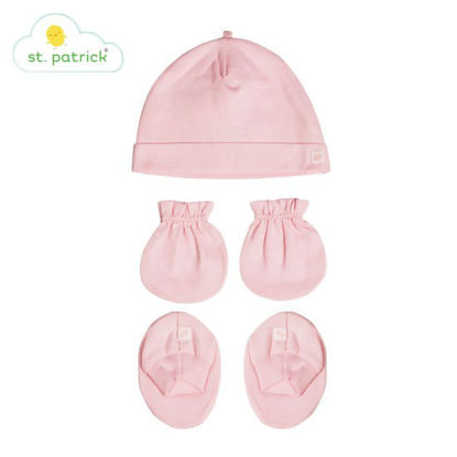 Picture of St. Patrick Mittens, Beanie, Booties Set (Plain Pink)