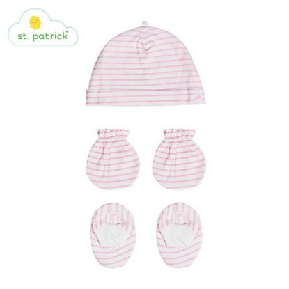 Picture of St. Patrick Mittens, Beanie, Booties Set (Stripes Pink)