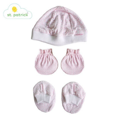 Picture of St. Patrick Mittens, Beanie, Booties Set (Polka Pink)