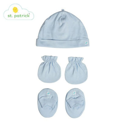 Picture of St. Patrick Mittens, Beanie, Booties Set (Plain Blue)