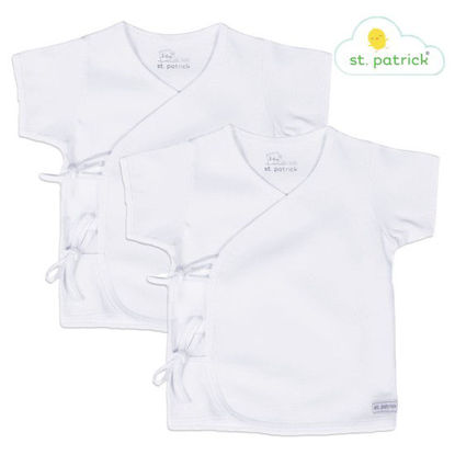 Picture of St. Patrick Tie-side Short Sleeves x2 (White, 0-3 mos.)