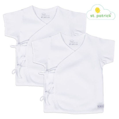 Picture of St. Patrick Tie-side Short Sleeves x2 (White, 3-6 mos.)