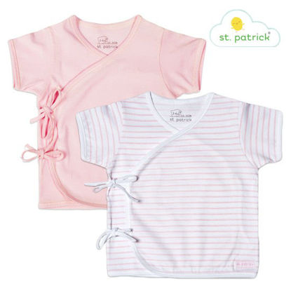 Picture of St. Patrick Tie-side Short Sleeves x2 (Pink Stripes, 0-3 mos.)