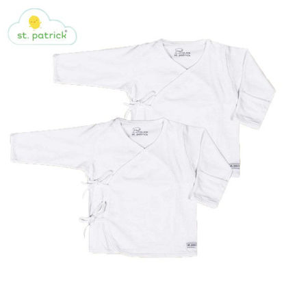 Picture of St. Patrick Tie-side Long Sleeves x2 (White, 3-6 mos.)