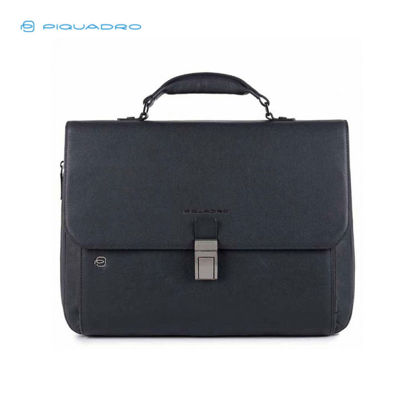 Picture of PIQUADRO BLACK SQUARE COMPUTER MESSENGER BAG