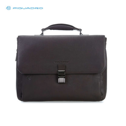 Picture of PIQUADRO BLACK SQUARE FLAPOVER EXPANDABLE COMP BAG