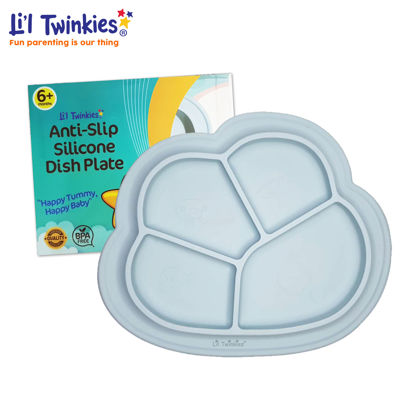 Picture of Li'l Twinkies Anti-Slip Silicone Dish Plate, Light Gray