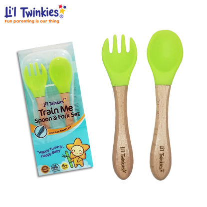 Picture of Li'l Twinkies Train Me Spoon and Fork Set, Bright Green