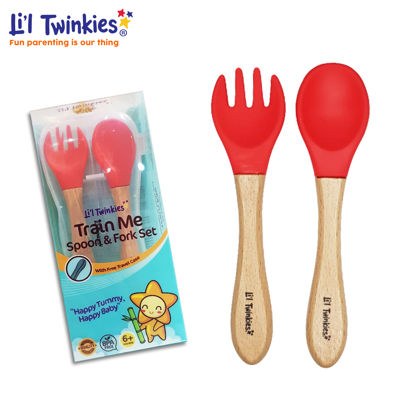 Picture of Li'l Twinkies Train Me Spoon and Fork Set, Red