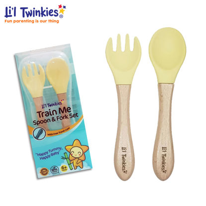 Picture of Li'l Twinkies Train Me Spoon and Fork Set, Pastel Yellow