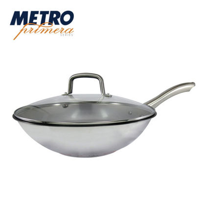 Picture of Metro Primera Series 32cm Stainless Steel Chinese Wok with glass lid