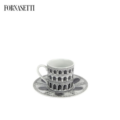 Picture of Fornasetti Coffee cup Architettura black/white