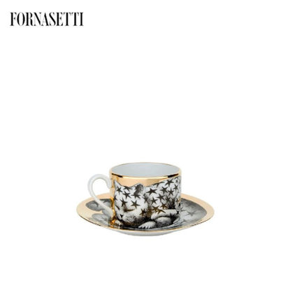 Picture of Fornasetti Tea cup High Fidelity Stellato black/white/gold