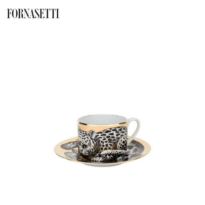 Picture of Fornasetti Tea cup High Fidelity Leopardato black/white/gol