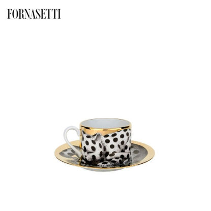 Picture of Fornasetti Tea cup High Fidelity Pois black/white/gold