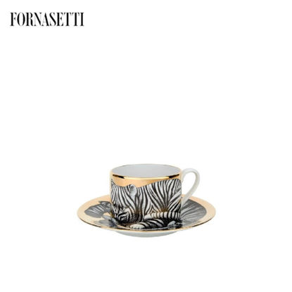 Picture of Fornasetti Tea cup High Fidelity Tigrato black/white/gold