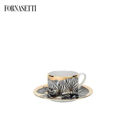 Picture of Fornasetti Tea cup High Fidelity Tigrato black/white/gold