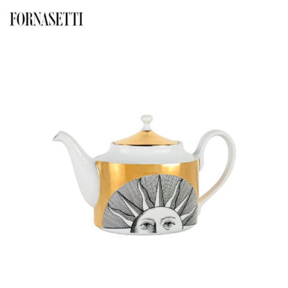 Picture of Fornasetti Tea pot Soli black/white/gold