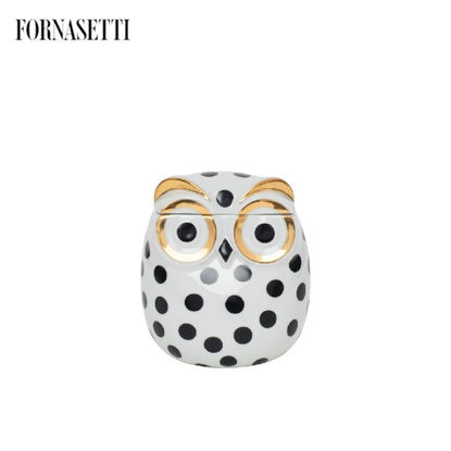 Picture of Fornasetti Jar Civetta Impallinata black/white/gold