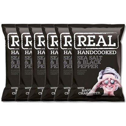 Picture of Real Handcooked Crisps Sea Salt And Black Pepper x 6pcs