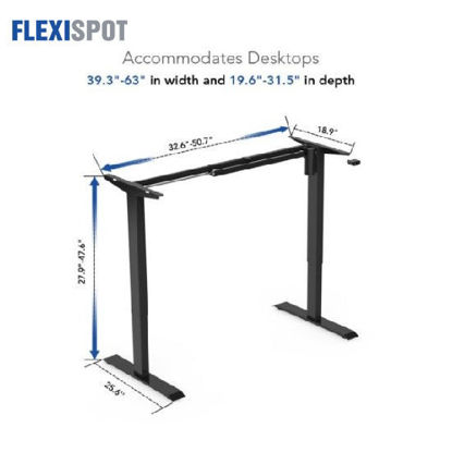 Picture of Flexispot Electric Height-Adjustable Desk 2-Stage 1 Motor E2E: Frame Only - Black