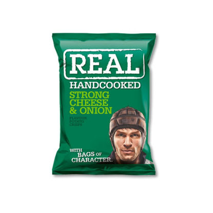 Picture of Real Handcooked Crisps Strong Cheese & Onion (150g)