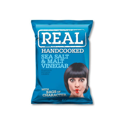 Picture of Real Handcooked Crisps Sea Salt and Malt Vinegar (150g)