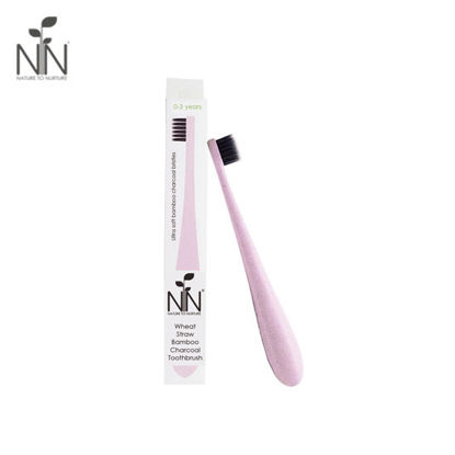 Picture of Nature to Nurture Wheat Straw Bamboo Charcoal Toothbrush, 1 to 3yrs old, Pink