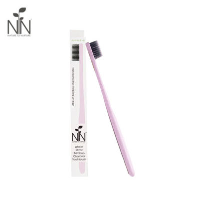 Picture of Nature to Nurture Wheat Straw Bamboo Charcoal Toothbrush, 4yrs & up, Pink